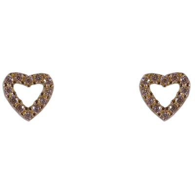 Szív alakú, köves, bedugós fülbevaló, sárga aranyból