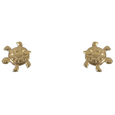 Teknősbéka alakú bedugós fülbevaló sárga aranyból