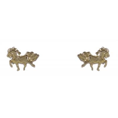 Ló alakú bedugós fülbevaló sárga aranyból